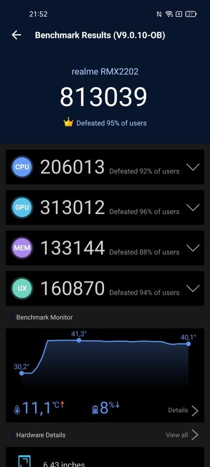 Teste benchmark realme GT 5G