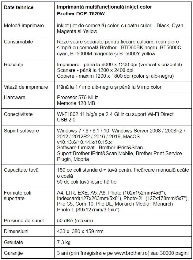 Specificatii imprimanta multifunctionala inkjet color Brother DCP-T520W