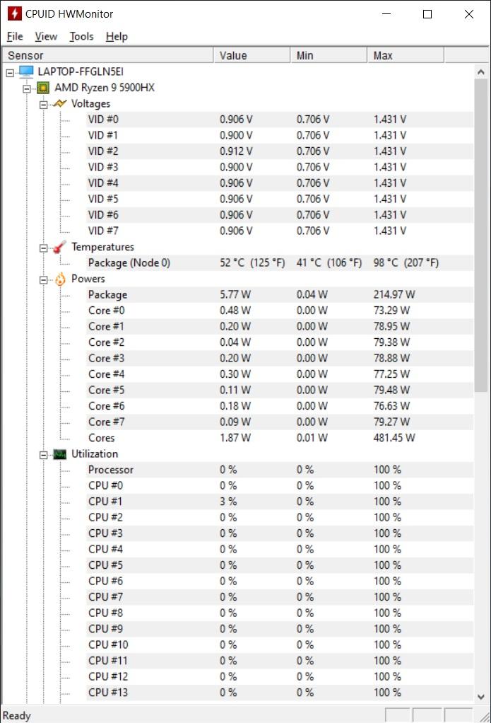 Temperaturi maxime CPU laptop ASUS ROG Strix G15 G513QY