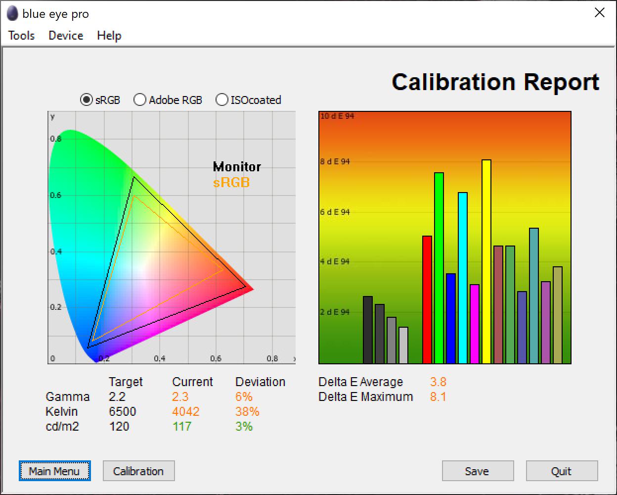 Test culori ecran inainte de calibrare notebook Acer ConceptD 5 CN516-72G