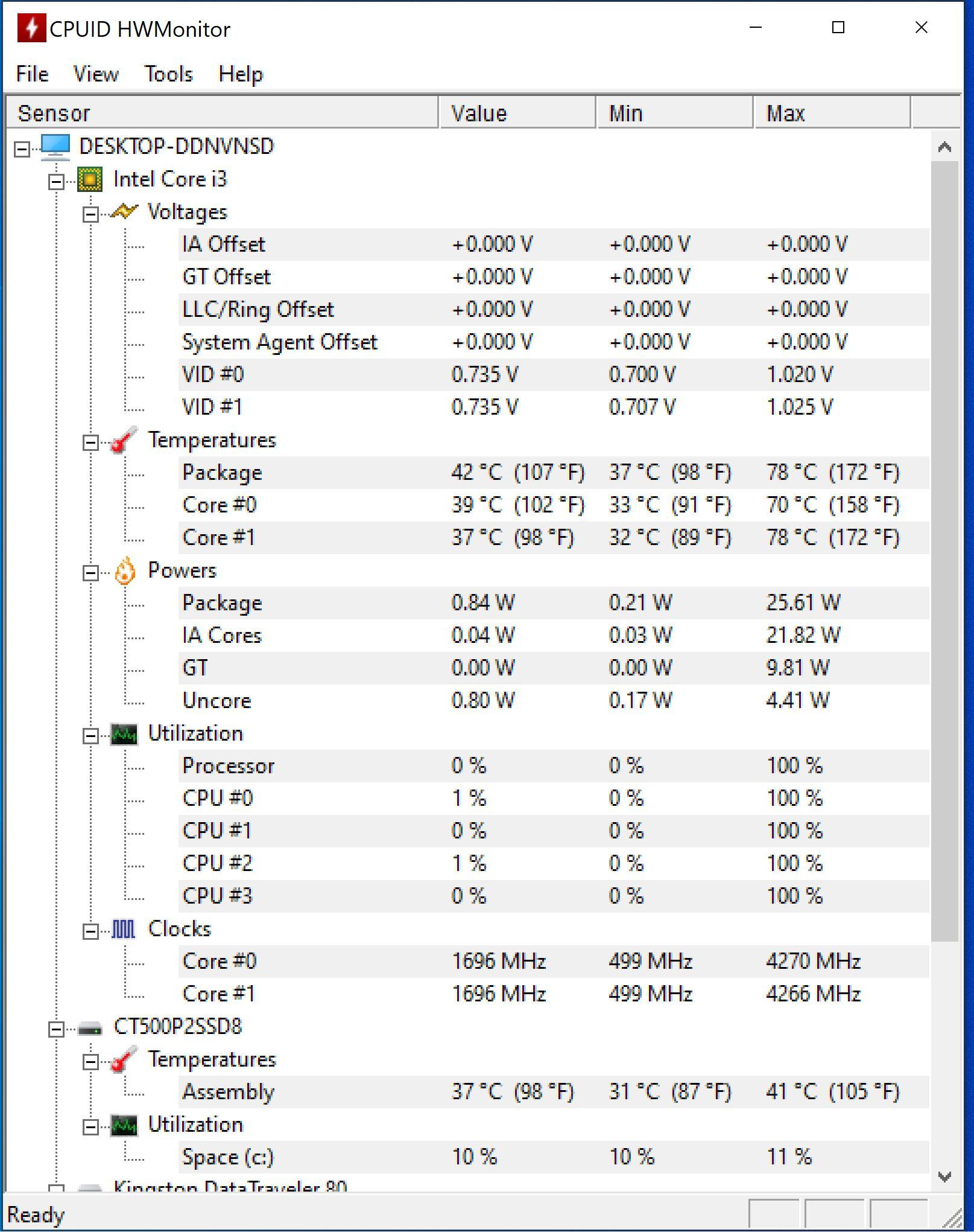 Temperaturi Intel NUC 11 Pro Kit NUC11TNKi3