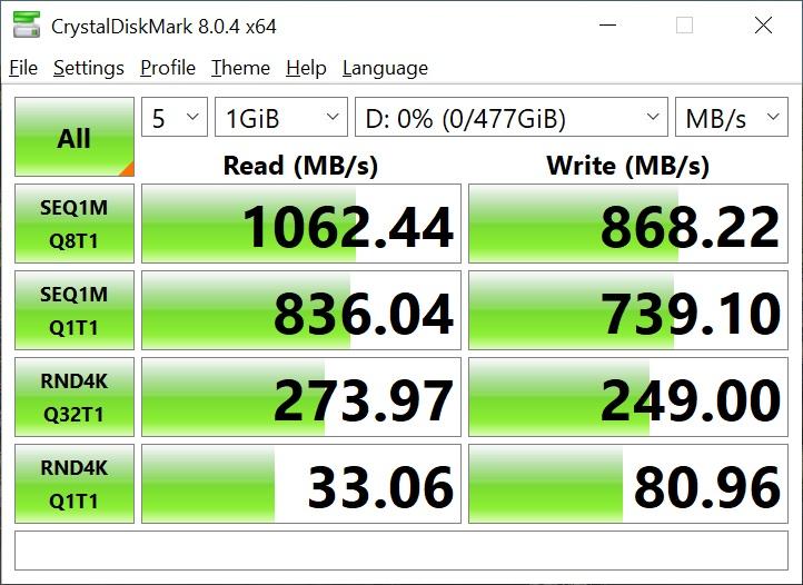 Teste benchmark SSD extern ADATA SE770G 512 GB
